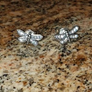 NWT Pandora Dragonfly earrings in Sterling Silver